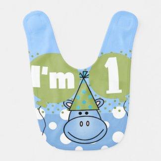 Blue Hippo 1st Birthday Bib