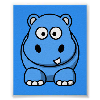 blue-hippo- cute cartoon wild animal happy fun poster