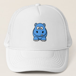 blue-hippo- cute cartoon wild animal happy fun trucker hat