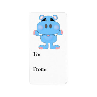 blue hippo cute character label