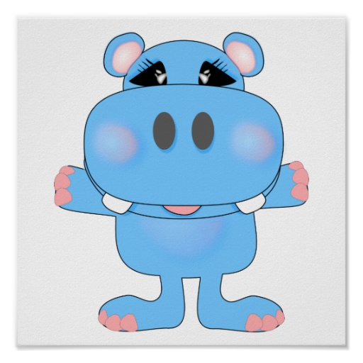 blue hippo cute character print