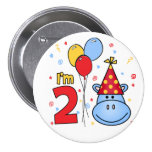 Blue Hippo Face 2nd Birthday Pinback Button