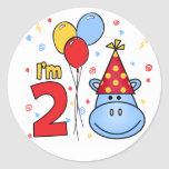 Blue Hippo Face 2nd Birthday Stickers