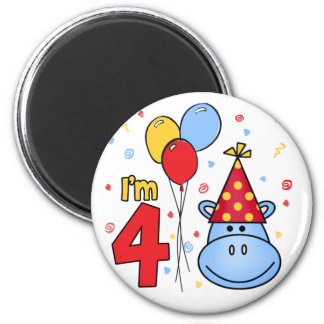 Blue Hippo Face 4th Birthday 2 Inch Round Magnet