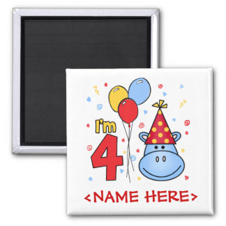 Blue Hippo Face 4th Birthday 2 Inch Square Magnet