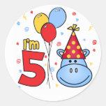 Blue Hippo Face 5th Birthday Classic Round Sticker