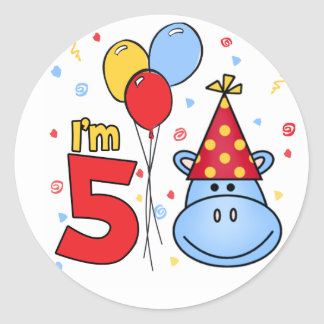 Blue Hippo Face 5th Birthday Stickers