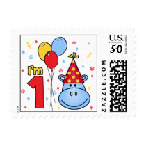 Blue Hippo Face First Birthday Postage