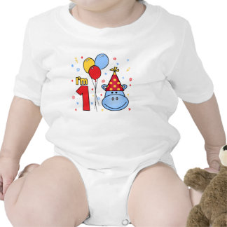 Blue Hippo Face First Birthday Tees