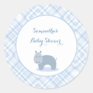 Blue Hippo, Plaid, Baby Shower Classic Round Sticker