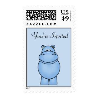 Blue Hippo Postage Stamp