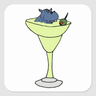 Blue Hippo Sitting in Martini Drink Square Sticker