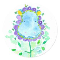 Blue Hippo Watercolor Flower Classic Round Sticker
