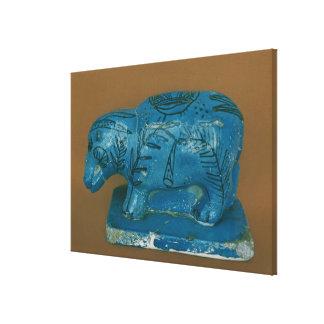 Blue hippopotamus with black decoration canvas print