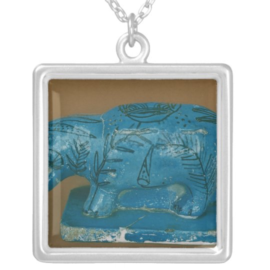Blue hippopotamus with black decoration silver plated necklace