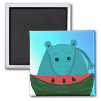 Blue Hippopotamus with Watermelon Slice Magnet