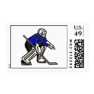 Blue Hockey Goalie Postage