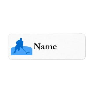 Blue Hockey Logo Return Address Label
