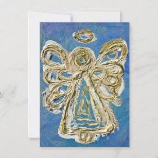 Blue Holiday Angel Custom Invite or Invitation