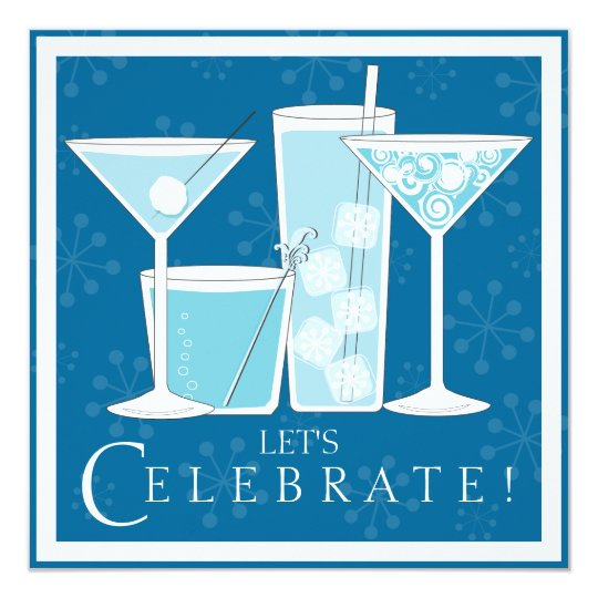 Blue Holiday Cocktail Celebration Party Invitation