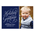Blue Holiday Greetings 5x7 Paper Invitation Card
