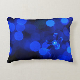 Blue Holiday Lights Accent Pillow