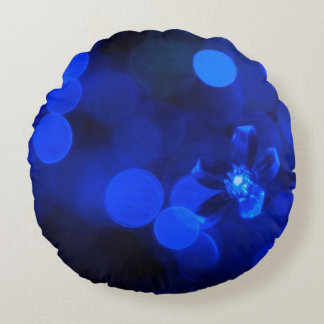 Blue Holiday Lights Round Pillow
