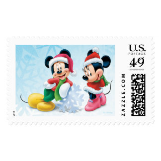 Blue Holiday Mickey & Minnie Postage