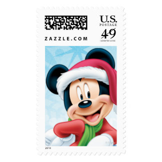 Blue Holiday Mickey Postage Stamps