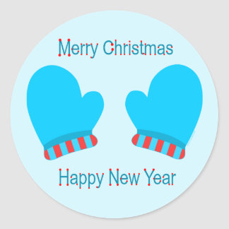Blue Holiday Mittens (Christmas/ New Year) Classic Round Sticker