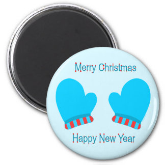 Blue Holiday Mittens (Christmas/ New Year) Magnets