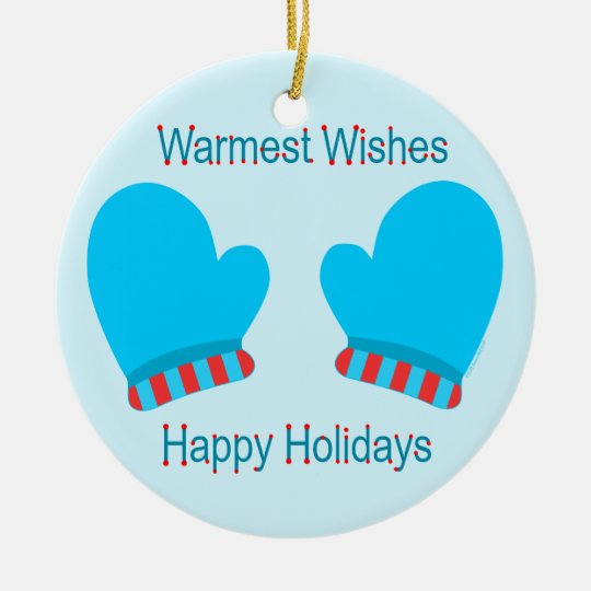 Blue Holiday Mittens (Holiday Warm Wishes) Ceramic Ornament