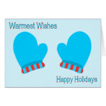 Blue Holiday Mittens (Holiday Wishes) Cards
