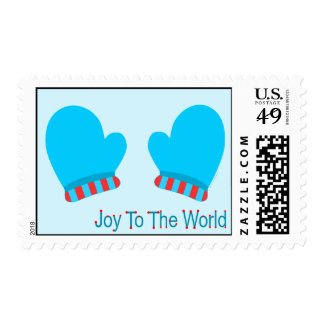 Blue Holiday Mittens (Joy To The World) Postage