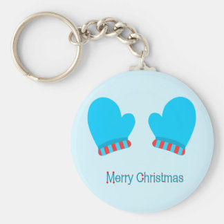 Blue Holiday Mittens (Merry Christmas) Basic Round Button Keychain