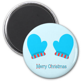 Blue Holiday Mittens (Merry Christmas) Refrigerator Magnets