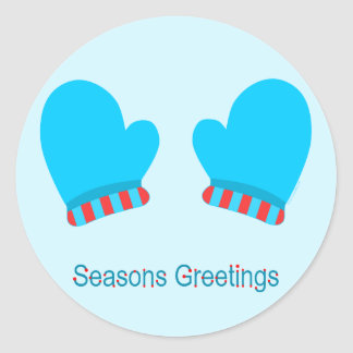 Blue Holiday Mittens (Seasons Greetings) Classic Round Sticker