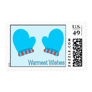 Blue Holiday Mittens (Warmest Wishes) Postage