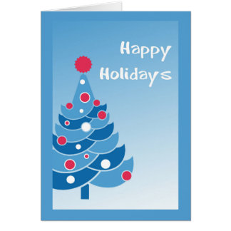 Blue Holiday Tree Card