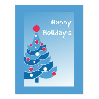 Blue Holiday Tree Postcard