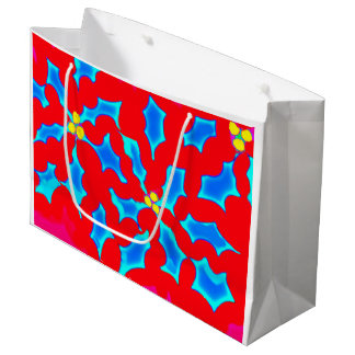 Blue Holly on Red - Gift Bag