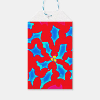 Blue Holly on Red - Gift Tag