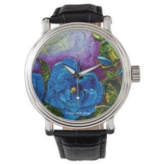 Blue Hollyhock Wrist Watch