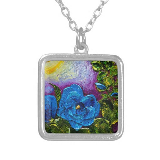 Blue Hollyhocks Art Necklace