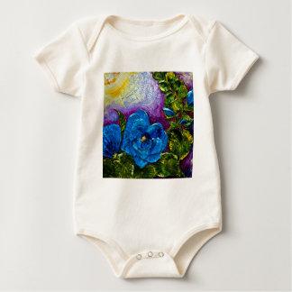 Blue Hollyhocks Baby Bodysuit