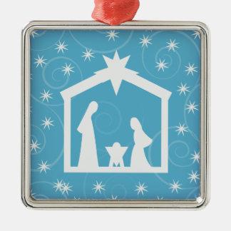 Blue Holy Night Nativity Christmas Ornament