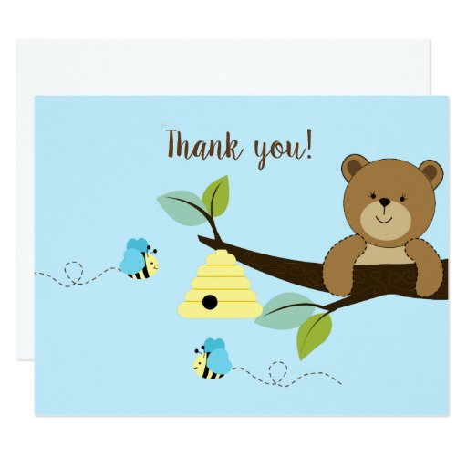 Blue Honey Bear Bumble Bee Bo Flat Thank you notes Card