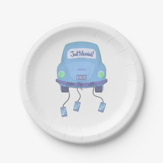 Blue Honeymoon Car Wedding 7 Inch Paper Plate