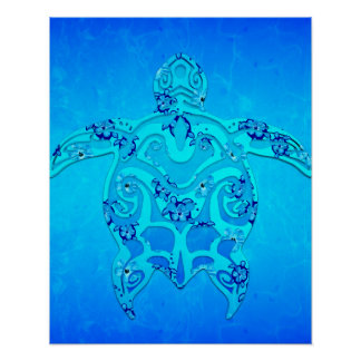 Blue Honu Tribal Turtle Poster