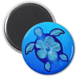 Blue Honu Turtle and Hibiscus 2 Inch Round Magnet